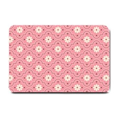 Pink Flower Floral Small Doormat  by Alisyart