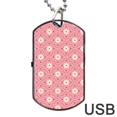 Pink Flower Floral Dog Tag Usb Flash (two Sides) by Alisyart
