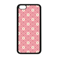 Pink Flower Floral Apple Iphone 5c Seamless Case (black) by Alisyart