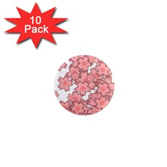 Flower Floral Pink 1  Mini Magnet (10 Pack)  by Alisyart