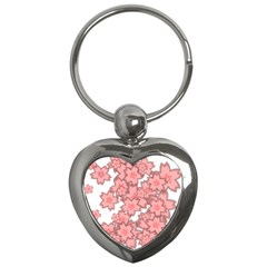 Flower Floral Pink Key Chains (heart)  by Alisyart