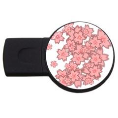 Flower Floral Pink Usb Flash Drive Round (2 Gb) by Alisyart
