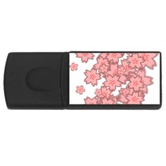 Flower Floral Pink Usb Flash Drive Rectangular (4 Gb) by Alisyart