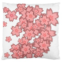 Flower Floral Pink Standard Flano Cushion Case (one Side) by Alisyart