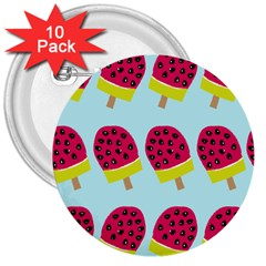 Watermelonn Red Yellow Blue Fruit Ice 3  Buttons (10 Pack)  by Alisyart