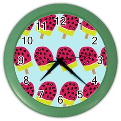 Watermelonn Red Yellow Blue Fruit Ice Color Wall Clocks by Alisyart
