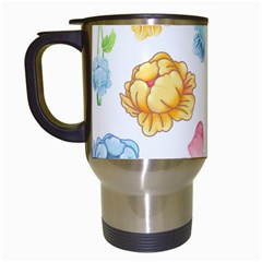 Rose Flower Floral Blue Yellow Gold Butterfly Animals Pink Travel Mugs (white) by Alisyart