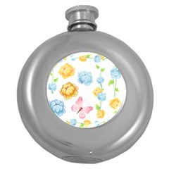 Rose Flower Floral Blue Yellow Gold Butterfly Animals Pink Round Hip Flask (5 Oz) by Alisyart