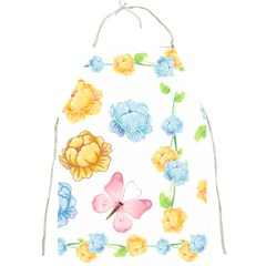 Rose Flower Floral Blue Yellow Gold Butterfly Animals Pink Full Print Aprons by Alisyart