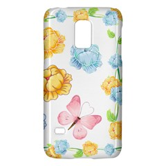 Rose Flower Floral Blue Yellow Gold Butterfly Animals Pink Galaxy S5 Mini by Alisyart