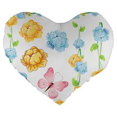Rose Flower Floral Blue Yellow Gold Butterfly Animals Pink Large 19  Premium Flano Heart Shape Cushions by Alisyart