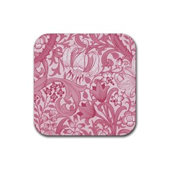 Vintage Style Floral Flower Pink Rubber Coaster (square)  by Alisyart
