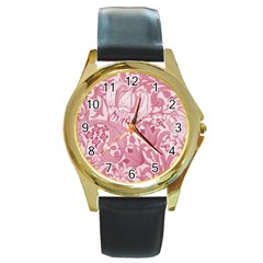 Vintage Style Floral Flower Pink Round Gold Metal Watch by Alisyart