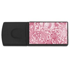 Vintage Style Floral Flower Pink Usb Flash Drive Rectangular (4 Gb) by Alisyart