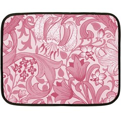 Vintage Style Floral Flower Pink Fleece Blanket (mini) by Alisyart