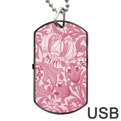 Vintage Style Floral Flower Pink Dog Tag Usb Flash (two Sides) by Alisyart