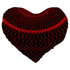 Red Spiral Featured Large 19  Premium Heart Shape Cushions by Alisyart
