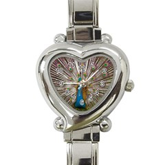 Indian Peacock Plumage Heart Italian Charm Watch