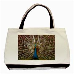 Indian Peacock Plumage Basic Tote Bag by Simbadda