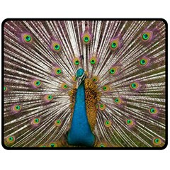 Indian Peacock Plumage Double Sided Fleece Blanket (medium)  by Simbadda