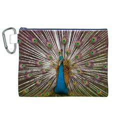 Indian Peacock Plumage Canvas Cosmetic Bag (xl) by Simbadda
