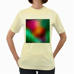 Colourful Weave Background Women s Yellow T Shirt by Simbadda