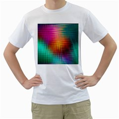 Colourful Weave Background Men s T Shirt (white) (two Sided) by Simbadda