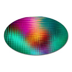 Colourful Weave Background Oval Magnet by Simbadda