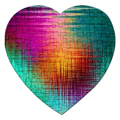 Colourful Weave Background Jigsaw Puzzle (heart) by Simbadda