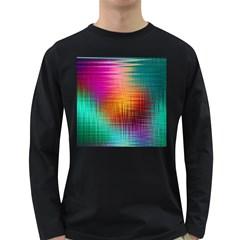 Colourful Weave Background Long Sleeve Dark T Shirts by Simbadda