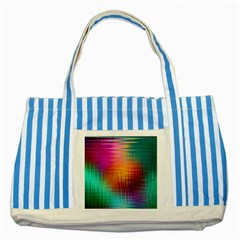 Colourful Weave Background Striped Blue Tote Bag by Simbadda