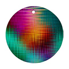 Colourful Weave Background Round Ornament (two Sides) by Simbadda