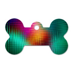 Colourful Weave Background Dog Tag Bone (two Sides) by Simbadda