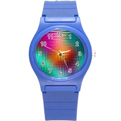 Colourful Weave Background Round Plastic Sport Watch (s) by Simbadda