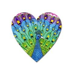 Peacock Bird Animation Heart Magnet by Simbadda