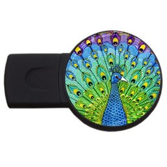 Peacock Bird Animation Usb Flash Drive Round (2 Gb) by Simbadda