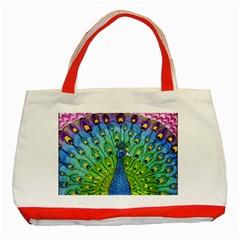 Peacock Bird Animation Classic Tote Bag (red) by Simbadda
