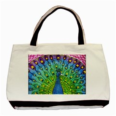 Peacock Bird Animation Basic Tote Bag (two Sides) by Simbadda