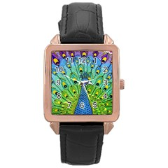 Peacock Bird Animation Rose Gold Leather Watch  by Simbadda