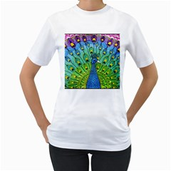 Peacock Bird Animation Women s T Shirt (white)  by Simbadda