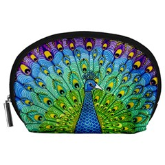 Peacock Bird Animation Accessory Pouches (large)  by Simbadda