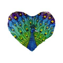 Peacock Bird Animation Standard 16  Premium Flano Heart Shape Cushions by Simbadda