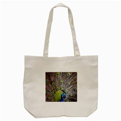 Peacock Bird Feathers Tote Bag (cream) by Simbadda