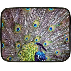 Peacock Bird Feathers Double Sided Fleece Blanket (mini)  by Simbadda