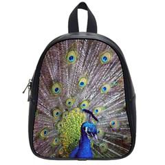 Peacock Bird Feathers School Bags (small)  by Simbadda