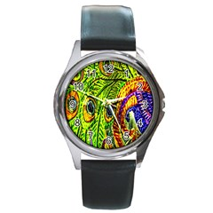 Peacock Feathers Round Metal Watch by Simbadda