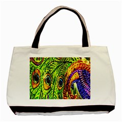 Peacock Feathers Basic Tote Bag (two Sides) by Simbadda