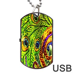 Peacock Feathers Dog Tag Usb Flash (one Side) by Simbadda