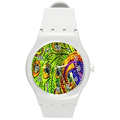 Peacock Feathers Round Plastic Sport Watch (m) by Simbadda