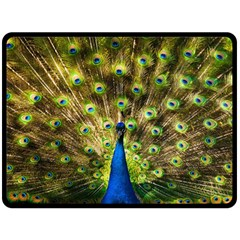 Peacock Bird Double Sided Fleece Blanket (large)  by Simbadda